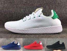 2019 Теннис Ху Мужские кроссовки Pharrell Williams x Стэн Смит Женщины бегун Спортивная обувь Белые зеленые кроссовки Дизайнерские кроссовки cheap mens white tennis shoes от Поставщики мужская белая теннисная обувь