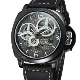 forsining orologi da polso Sconti Forsining Unique Skeleton Skeleton Mechanical Watch Orologio da polso automatico trasparente da uomo Cinturino in pelle nera Relogio Masculino