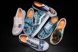 Женская обувь онлайн-Новый Slip-On Gogh Museum x Подсолнух Старая школа Мужская женская повседневная обувь Цветы Холст Скейтборд Спортивные кроссовки AOZZ