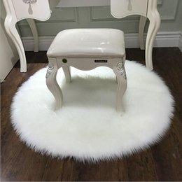 Free ship long plush faux wool soft bedroom carpet bedside full carpet  floor foot pad showcase dressing stool cushion round shape white