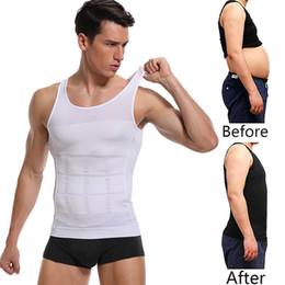 Camicia maschile dimagrante online-Mens Body Shapers che dimagrisce Camicia a maniche corte con elastico Vestitino aderente a vestibilità aderente