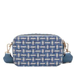 Шить цвет искусственная кожа смешанный материал простой плед мода тенденция женская сумка широкополосная письмо женская сумка через плечо от