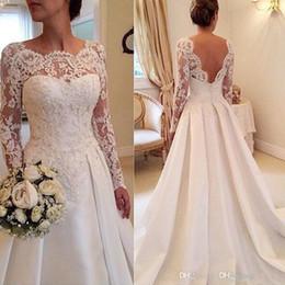 2019 vestido de noiva com vestido de bola 2020 Fanty Jóias Long Neck mangas Lace Applique corpete Tribunal de casamento vestido de trem de costas abertas Sexy vestidos de noiva vestido de noiva Curto