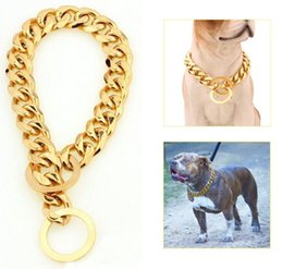"Collari di cane extra larghi online-Rifornimenti del cane 12-22 ""Cane Collare a catena in oro 13mm Tono largo Curb Cuban Rombo Link Acciaio inossidabile 316L Monili dell'animale domestico all'ingrosso"