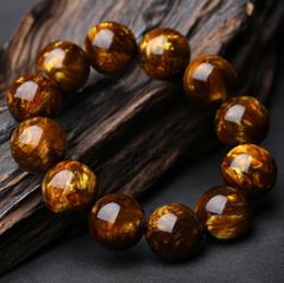 Bernstein perlen armband online-Fabrik Großhandel New Hailiu Bernstein Perlen Armband Große Gold Bernstein Armband Perlen Armband