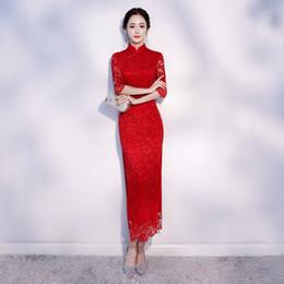 Vestidos de noiva de renda elegante vermelho on-line-Nova Chegada Do Laço Feminino Red Mandarin Qipao Elegante Chinês Noiva Vestido de Noiva Lady Slim Longo Do Vintage Cheongsam S-2XL