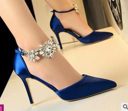 новый стиль туфли на высоком каблуке женская тонкая шелковая атласная дрель для воды сандалии ночной клуб вечернее платье свадебные туфли синий красный серебристый розовый cheap blue silk heels от Поставщики синие шелковые каблуки