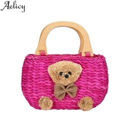 Соломенный торт-кошелек онлайн-Aelicy New women's Fashion Summer Beach High Quality Casual Handbags Suitcase Tote Straw Handbag Flower Purses And Handbags 2019