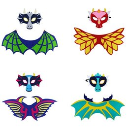 cosplay cat face mask Promo Codes - Dinosaur Wing Cloak Suit Felt Dragon Cosplay Costumes Frost Wyrm Mask Halloween Party Perform Prop Multi Style 10 5djb1