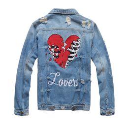 Denim di cuore online-Fashion Designer Slim Fit Mens strappato giacche di jeans Cuore ricamo Streetwear Distressed Motorcycle Biker Jeans Jacket PN410