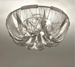 Canada Style moderne Argent Tissu Art Pendentif Lampe Ingénierie Conception De Luxe Chaîne Gland Chaîne En Aluminium LED Belle Pendentif Lumières LLFA cheap aluminum cloth Offre