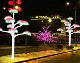 2019 albero di ciliegio verde chiaro Nuovo LED Cherry Blossom Tree Light Albero artificiale impermeabile da esterno, 5 piedi, 540leds Colore rosa verde bianco blu per matrimonio festivo albero di ciliegio verde chiaro economici