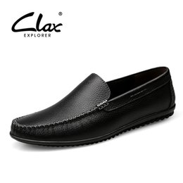 9c6598a82 CLAX Mens Leather Shoes Slip on Summer Autumn Casual Loafers Male  Breathable Boat Shoe Genuine Leather chaussure homme Moccasin #142905 on  sale