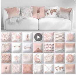 2019 travesseiros de sofá de ouro Fronha Rose Gold Geométrica Abacaxi Glitter Poliéster Sofá Capa de Almofada Decorativa para Decoração de Casa 45x45 cm desconto travesseiros de sofá de ouro