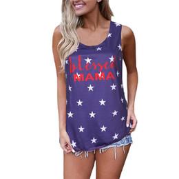 Drap usa en Ligne-Tous Little Star With USA Imprimer Femme Débardeur De Mode Sans Manches Femme D'été Tshirt Lady Cloth