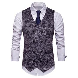 Мужские жилеты напечатаны онлайн-NIBESSER 2019  Mens  Leopard Printed Suit Vest Mens Party wedding Waistcoat Suit Men Casual Business Vest