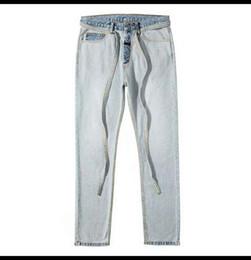 Hip hop homens calça jeans on-line-2019 NOVA Justin bieber Medo de Deus homens jeans hip hop nevoeiro Fita bleaching azul casual jeans
