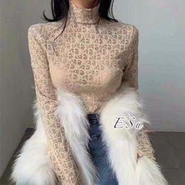 2019 sottile giacca di maglione delle signore 2020 pizzo leggings web celebrity società ragazza con un collo alto di pizzo leggings temperamento indumento superiore senza fodera
