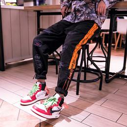 Pantalones cargo naranja online-National Street JOGGER PANTS Skateboarding Costume Bottom Trousers, Pantalones sueltos de cintura media y baja, Blanco y naranja M-3XL
