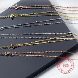 solide roségoldkette Rabatt Modeschmuck China Fabrik Preis solide 925 Sterling Silber Rose Gold kurze Twist Kette Halsreifen Halskette kleine Perlen Halsketten Großhandel