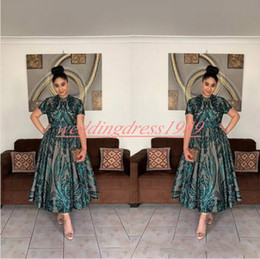 Современные короткие юбки онлайн-Современные Короткие Рукава Плюс Размер Вечерние Платья в Дубае с Блёстками 2020 Зеленое Pageant Платья Партии Короткий Выпускной Вечер Формальные A-Line Ball Girl Skirt