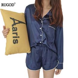 Damen Satin Seide Pyjama-Set  Hemd Oberteil Lange Hose Satz Nachtwäsche Mode