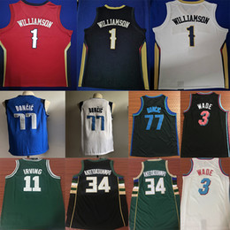 l basketball jerseys Promo Codes - NCAA Zion 1 Williamson Jerseys Dwyane 3 WADE Damian 0 Lillard Giannis 34 ANTETOKOUNMPO 77 DONCIC 11 Irving College Mens Basketball Jersey