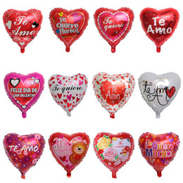 forma de corazón globos de aluminio Rebajas 50 unids 18 pulgadas español Feliz Dia forma de corazón globos de helio para el día de San Valentín de Bridel boda cumpleaños decoración de artículos de decoración Y19061704
