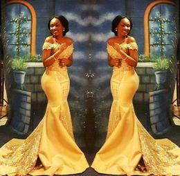 7fc9973879a7 2019 vestiti eleganti lunghi gialli Elegante giallo africano sirena abiti da  ballo lungo 2019 formale spalle