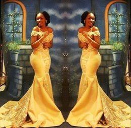 Argentina Elegante sirena africana amarilla vestidos de baile largos 2019 formal fuera del hombro Lujo abalorios cristal satinado árabe trompeta vestidos de noche cheap yellow v neck prom dress Suministro