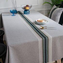 mantel japonés Rebajas Mantel de algodón japonés de estilo nórdico impermeable 120x160cm bordado Onda geométrica mantel de cocina
