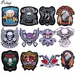 grandes pièces de dos de motards Promotion Pulaqi brodé Eagle Wing Rock Moto 66 Américain HIGHWAY Grand Dos Fer Sur Patch Vêtements Veste Biker Punk Patch H