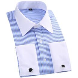 2019 camisa formal colar desenhos Homens Francês Abotoaduras Camisa Listra Sólida Marca Camisa Dos Homens Formais Branco Gola Design Masculino Fit Magro Francês Cuff Plus Size6XL 5XL camisa formal colar desenhos barato