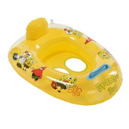 Niños nadando inflables online-Niños Niñas Patrón de dibujos animados Piscina de natación Deportes acuáticos Flotador inflable para niños Bebé Niño Natación Vueltas Anillos Asiento Barco Juguetes