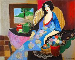 pinturas al óleo de calidad de las mujeres Rebajas Mondern pinturas al óleo abstractas lienzo arte de la pared para el hogar decoración de la pared mujer y flor pintado a mano de alta calidad sin marco