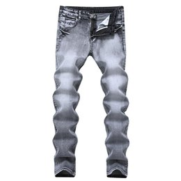 2019 светлый цвет брюки мужчины Vintage Designer Mens Jeans Light Grey Color Straight Slim Jeans For Men Cotton Denim Casual Pants Brand stretch Jean Trousers дешево светлый цвет брюки мужчины