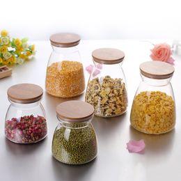 2019 contenitori per alimenti in vetro coperchi 500 700 1000 ml Contenitore di vetro trasparente Contenitore per alimenti con sigillo ermetico Coperchio di bambù Bottiglie per contenitori in vetro borosilicato sconti contenitori per alimenti in vetro coperchi