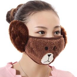 atacado de fone de ouvido no inverno Desconto Máscara Facial Winter Fashion Ear Máscara Boca máscaras protetoras à prova de vento Earmuff Anti Poeira Inverno máscaras de algodão Kawaii
