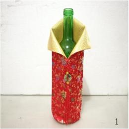 Bolso de seda hecho a mano chino online-Cubierta de la botella de vino de seda hechos a mano chino con nudo chino año nuevo navidad mesa decoración botella cubierta bolsas lin4715