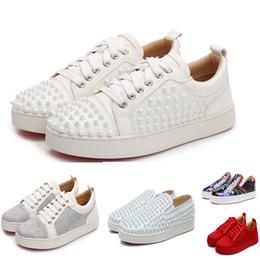 Nouvelle chaussure de foot football en Ligne-Top qualité fait main chaussures à crampons rouges 2019 New mens designer chaussures mocassins glissent sur cuir suedue luxe femmes casual chaussures taille 35-45