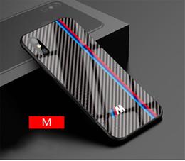 2020 funda de coche de lujo iphone Caso de la cubierta caliente Motorsport RS AMG de fibra de carbono para el caso de cristal templado del teléfono del coche de lujo iPhone 6 7 8 6S Plus Plus X XS MAX XR GTR rebajas funda de coche de lujo iphone