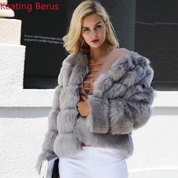 Ropa de imitación online-Keating Berus para mujer de piel sintética imitación de piel de zorro abrigo de invierno camisa de moda para mujer delgado elegante ropa de abrigo