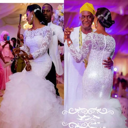 Saias de organza para mulheres on-line-Sheer lace vestidos de casamento com mangas compridas 3d-floral apliques de contas em camadas saias sereia organza branco plus size mulheres vestido de noiva