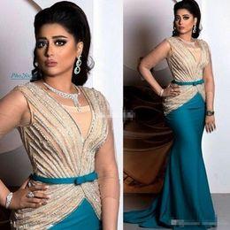 Vestidos de festa bege para mulheres on-line-Sexy New Arrival 2019 Beads Dubai Vestidos Mulheres Evening Comprimento Pavimento Mermaid Satin Prom Dresses árabes vestidos de festa formal frete grátis