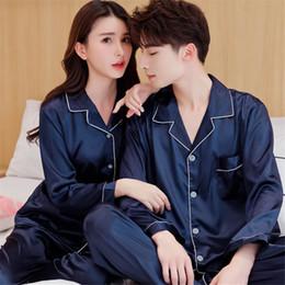 vestiti da notte di raso Sconti Cina raso di seta Pajamas Set Coppia Sleepwear Famiglia Pijama Lover Notte vestito Donna Uomo Casual Home Abbigliamento