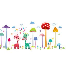 Árvores para crianças on-line-Animais dos desenhos animados decoração da parede girafa adesivos de parede para quarto de crianças decoração do quarto cogumelo árvores poster mural papel de parede decalques de parede