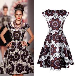 tagliare l'altalena Sconti African Fashion Ankara Kitenge Girocollo Stampa Tank Lady Ghana Style Makeba V Cut Neck Midi Swing Abbigliamento per le donne nere