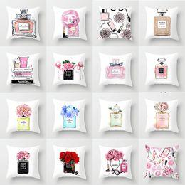 Almofada de perfume on-line-fronha de moda do carro de impressão frasco de perfume Pillowcase Início Pano sofá fronha de almofada atacado Para mapear personalizado feito