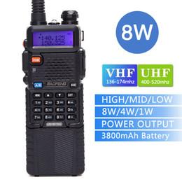 2019 uhf cb radios Baofeng UV-5R8W Walkie-Talkie 3800mAh Akku Tri-Power 8W / 4W / 1W Zwei-Wege-Radio 10 km Dual Band VHFUHF CB-Funk rabatt uhf cb radios