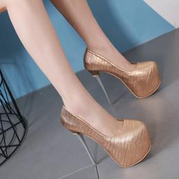 zapatos de la boda de la plataforma de champán Rebajas Diseñador de lujo de verano 16 cm tacón de aguja fiesta bombas champán negro plataforma del dedo del pie redondo zapatos de vestir de boda de gran tamaño 35-40
